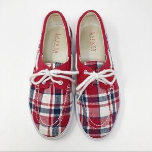 Ralph Lauren Plaid Boat Shoes - 8